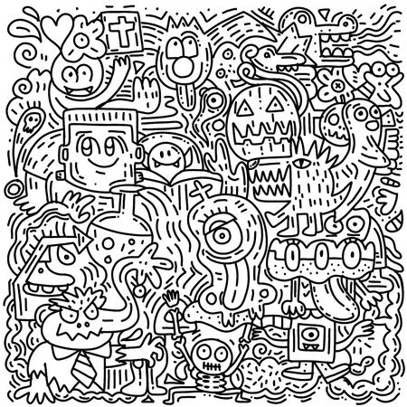 Halloween pattern with pumpkin, cat, bat, ghost, skull, etc ,Hand drawn