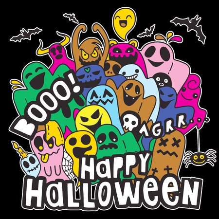Happy Halloween contour outline doodle. Ghost, bat, pumpkin, spider, monster set. Orange cloud. White background Flat design Vector illustration Ilustração