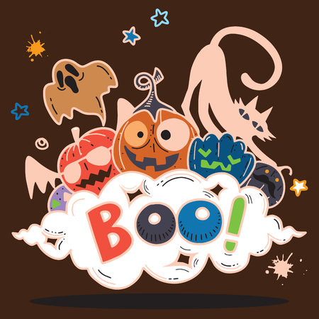 BOO!,Happy Halloween contour outline doodle. Ghost, bat, pumpkin, spider, monster set. Orange cloud. White background Flat design Vector illustration