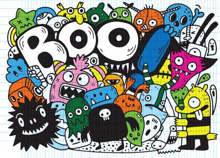 Doodle de contour de contour Halloween heureux. Fantôme, chauve-souris, citrouille, araignée, ensemble de monstres. Nuage orange. Fond blanc Design plat Illustration vectorielle Vecteurs