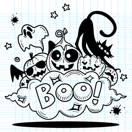 BOO!,Happy Halloween contour outline doodle. Ghost, bat, pumpkin, spider, monster set. Orange cloud. White background Flat design Vector illustration