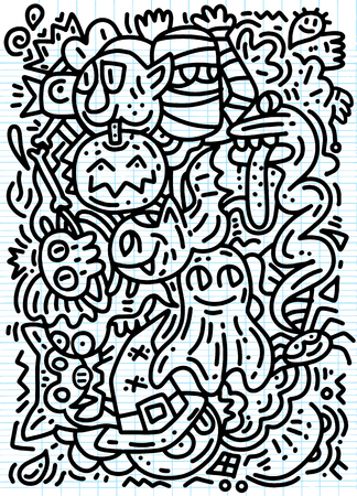 Halloween ,Funny ghost and monsters pattern for coloring book. Black and white background. Vector illustration