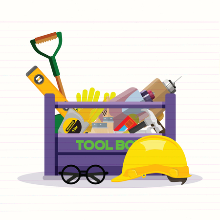 Set isolated icons set building tools repair. Include drill, hammer, screwdriver, saw,grove, cutter, ruler, roller, brush. Kit flat style. Tool box. Vector illustration