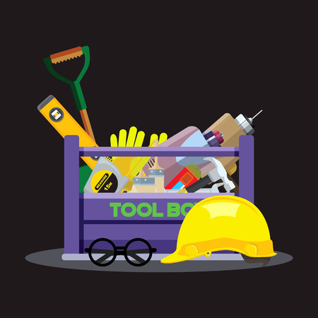 Set isolated icons set building tools repair. Include drill, hammer, screwdriver, saw,grove, cutter, ruler, roller, brush. Kit flat style. Tool box. Vector illustration Foto de archivo - 109665098