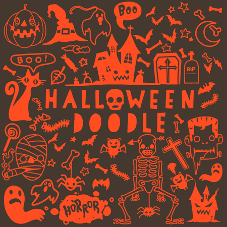 Vector illustration of Doodle Halloween poster design set with vector vampire witch mummy  ghost reaper character  ,Hand drawing Doodle Flat design Illustration