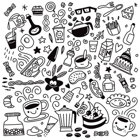 Collection of hand drawn outline buffet style breakfast dishes including eggs, pancakes, beverages, fruits, sandwiches, cereals and yogurt isolated on background. Ilustração
