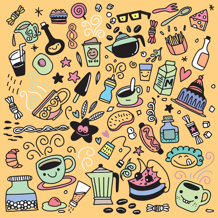 Collection of hand drawn outline buffet style breakfast dishes including eggs, pancakes, beverages, fruits, sandwiches, cereals and yogurt isolated on background. Ilustrace