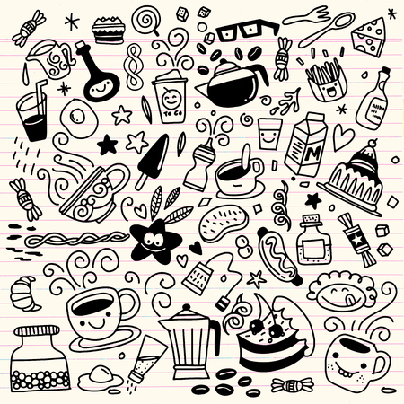 Collection of hand drawn outline buffet style breakfast dishes including eggs, pancakes, beverages, fruits, sandwiches, cereals and yogurt isolated on background. Illustration