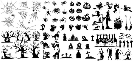 Collection of halloween silhouettes icon and character., witch, wizard attributes, creepy and spooky elements for halloween decorations, doodle silhouettes, sketch, icon, sticker. Hand drawn vector illustration.