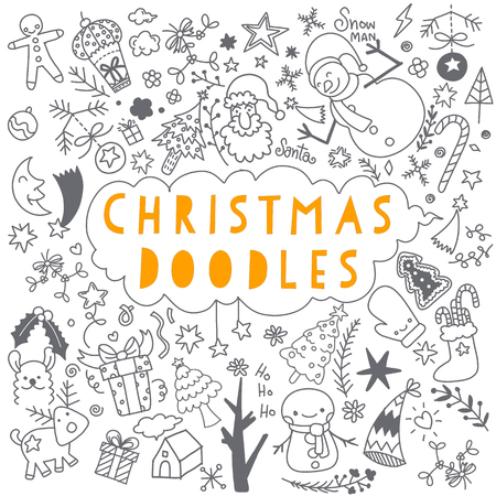 Sketchy vector hand drawn Doodle cartoon set of objects and symbols on the New Year theme Stock Illustratie