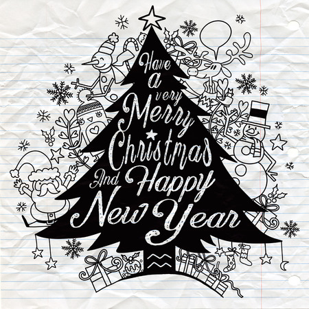 Calligraphy lettering Christmas tree with cute whimsical Christmas characters 일러스트