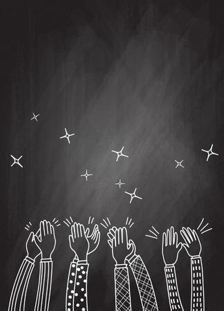 Mani umane che applaudono ovazione. stile scarabocchio, illustrazione vettoriale Vettoriali