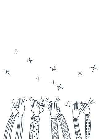 Human hands clapping ovation. doodle style ,vector illustration Standard-Bild - 110844520