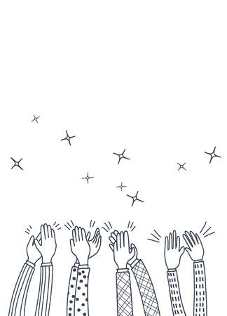 Manos humanas aplaudiendo ovación. estilo doodle, ilustración vectorial