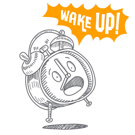 Hand drawn alarm clock isolated on white background,alarm clock ringing and expression speech bubble with wake up text.Vector old-fashioned illustration. Modern calligraphy style set.