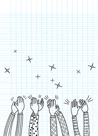 Human hands clapping ovation. doodle style ,vector illustration