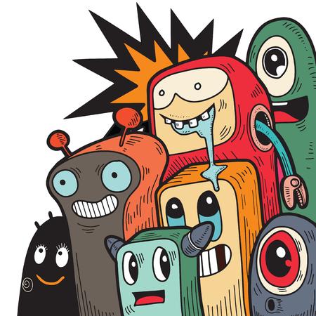 Schattige monsters doodles, vectorillustratie Vector Illustratie