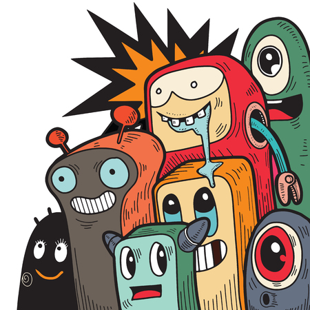 Cute monsters doodles,Vector Illustration