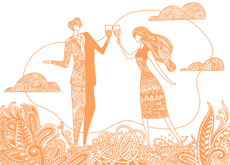 Vector illustration of loving couple with wineglasses in romantic background, background of a painted flower mandala
