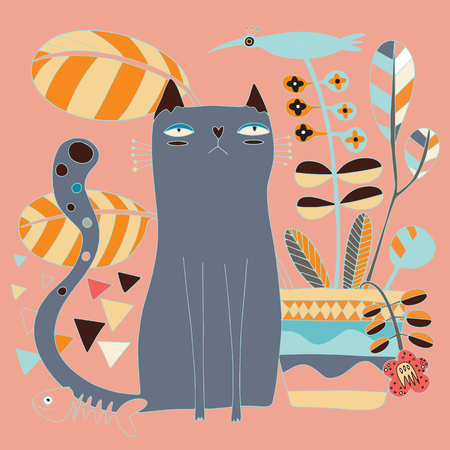 Cute cat and cute bird with a flowerpot. Vector illustration for kids. Use for print, surface design, fashion wear