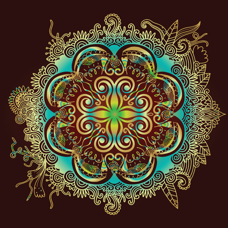 Abstract Flower design Mandala. Decorative round elements. Oriental pattern, vector illustration.
