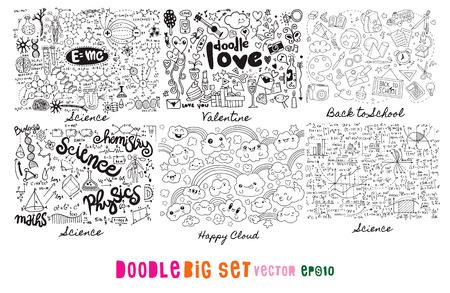 Doodle Big Set , Science, Love, Valentine, Back to school, cloud ,Hand Drawn Vector Illustration of Doodle, illustrator line tools drawing,Flat Design Vector Illustration