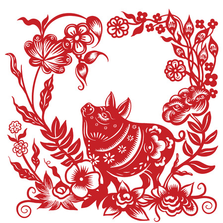 paper cut pig zodiac, Chinese new year 2019 ,Happy chinese new year 2019 Zodiac sign year of the pig with paper cut art and craft style on Background,  the pig Lunar new year