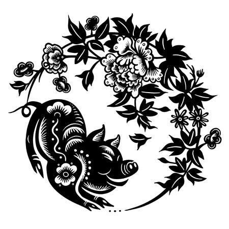 carta tagliata zodiaco maiale, capodanno cinese 2019, felice anno nuovo cinese 2019 segno zodiacale anno del maiale con carta tagliata arte e stile artigianale su sfondo, il maiale capodanno lunare Vettoriali