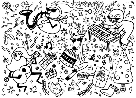 set of Christmas design element in doodle style Illustration