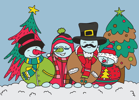 Merry Christmas! Happy Christmas companions.Snowman family  in Christmas snow scene. Ilustração