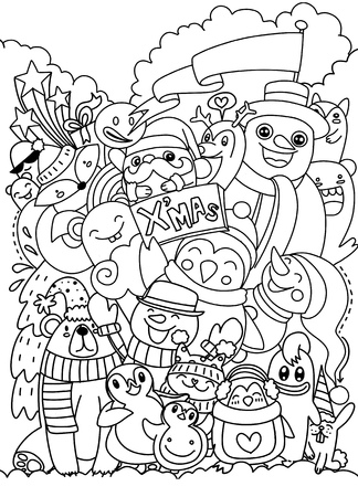 Hand drawn Christmas character set doodle, Vector illustration
