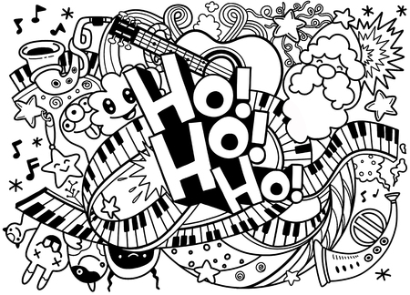 Christmas doodles. Abstract Music Background ,Collage with musical instruments.Hand drawing Doodle,vector illustration. Ho ho ho.