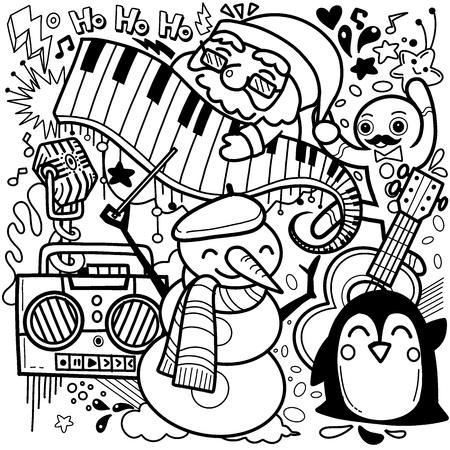 Christmas party celebration humorous cartoon, vector, isolated - Vector