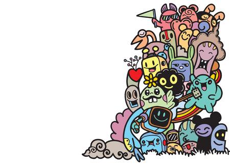 Grupo de monstruo lindo feliz multicultural para su diseño. Lugar para el texto. Plantilla para folleto publicitario. Carácter divertido del doodle. Ilustración vectorial