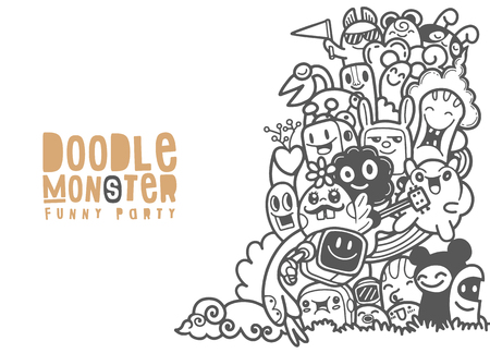Group of Multicultural happy cute monster for your design. Place for text. Template for advertising brochure. Funny doodle character. Vector illustration