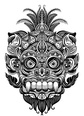 Illustrazione disegnata a mano. Elemento ornamentale. maschera diavolo tatuaggio, maschera tribale guerriero illustrazione vettoriale Vettoriali