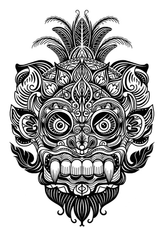 Ilustración dibujada a mano. Elemento ornamental. máscara del diablo del tatuaje, ilustración del vector de la máscara tribal del guerrero Ilustración de vector