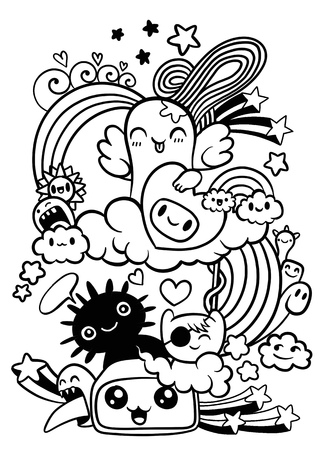 Cute Scary Halloween Monsters and Candy ,Set of funny cute monsters, aliens or fantasy animals for children coloring books or t-shirts. Hand drawn line art cartoon vector illustration - Vector