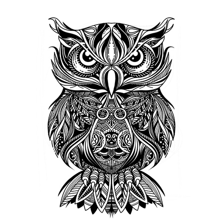 Coloring Page. Coloring Book. Colouring picture with OWL drawn in zentangle style. Antistress freehand sketch drawing. Vector illustration. Çizim