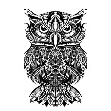 Malvorlagen. Malbuch. Ausmalbild mit OWL im Zentangle-Stil gezeichnet. Antistress-Freihand-Skizzenzeichnung. Vektor-Illustration.