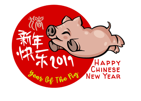 Cute pig ,Chinese ziodiac , Happy New Year 2019. Chinese New Year. The year of the pig. Chinese characters mean Happy New Year 스톡 콘텐츠 - 119012706
