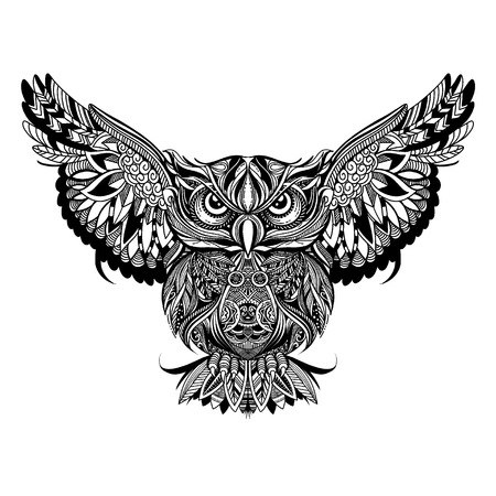 Owl with open wings and claws , cartoon eagle owl, isolated on white background. Hand drawn sketch for adult antistress coloring page, T-shirt emblem, logo or tattoo with doodle, floral design elements. Vettoriali
