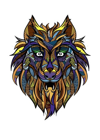 Ornamental vintage wolf predator   tattoo  decorative retro style. Isolated vector illustration