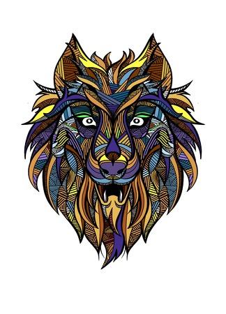 Ornamental vintage wolf predator   tattoo  decorative retro style. Isolated vector illustration