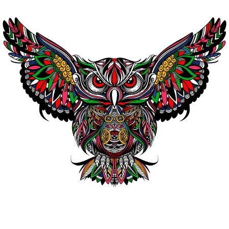 Chouette aux ailes ouvertes et aux griffes. Hibou dessiné dans le style. Dessin de croquis à main levée anti-stress. Illustration vectorielle. Vecteurs