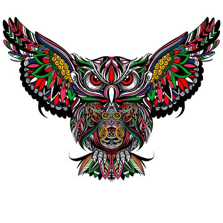 Owl with open wings and claws. OWL drawn in  style. Antistress freehand sketch drawing. Vector illustration. Illustration