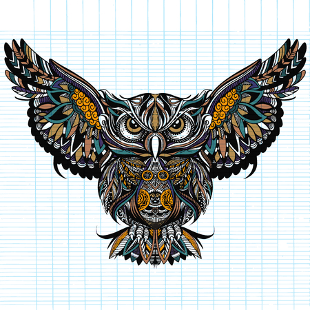 Owl with open wings and claws. OWL drawn in style. Antistress freehand sketch drawing. Vector illustration.