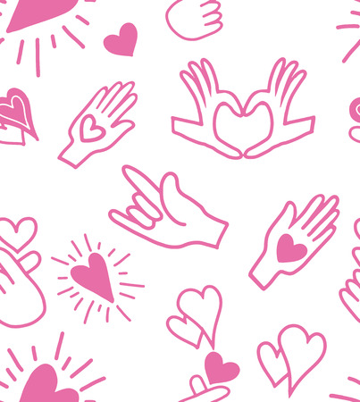 Cute seamless love pattern with Hands love language signs on pink color. Hand drawn in doodle, cartoon style illustrations. Background texture design for web, print and textile