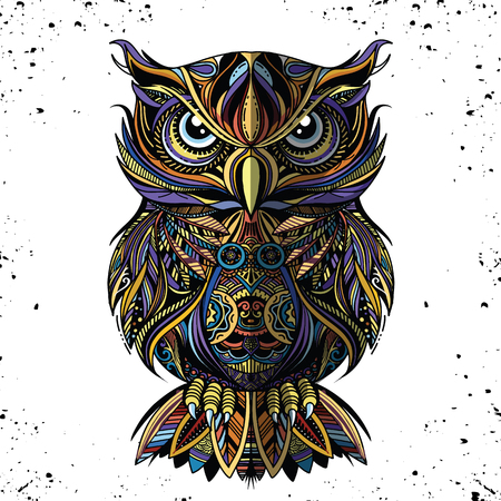 OWL drawn in style. Antistress freehand sketch drawing. Vector illustration.