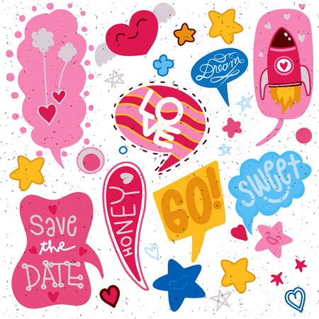 colorful comic speech bubbles set for Valentines Day. Isolated on white background. Expression text sweet,dream,go,love,save the date. Vector illustration, pop art style.